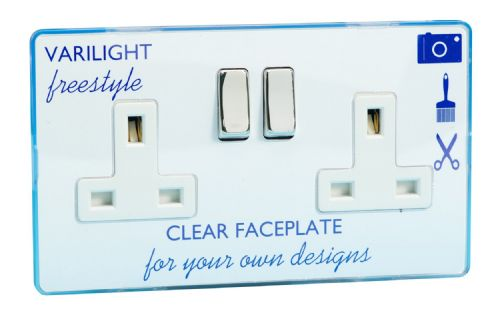 Varilight XIF5CW Freestyle Clear 2 Gang Double 13A Switched Plug Socket